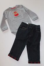 Gymboree Snow Cozy Fireman Bodysuit Top & Jeans Outfit Baby Boy 12-18 Months NEW