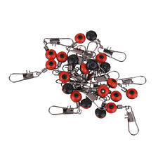 20pcs Space Beans Fishing Line to Hook Swivels Shank Clip Connector Red L