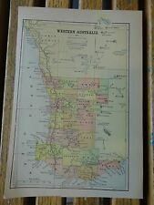 Nice colored map of Western Australia.  Pub. 1895 in the People's Cyclopedia.