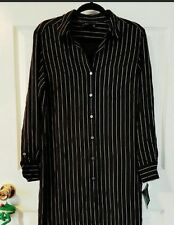 2017 Trend NWT Ralph Lauren Silk Pinstripe Shirt Dress Sz 12