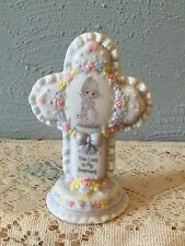 PRECIOUS MOMENTS 1995 THE LORD IS MY SHEPHERD CROSS PLAQUE GIRL W/LAMBS + PRAYER