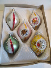 5 Vintage Teardrop and Reflector Indent Glass Christmas Ornaments