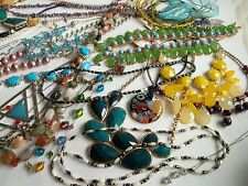 188 pc necklace lot,stones,pearls,coral,ceramic,rhinestones,glass beads,
