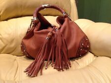 AUTH Gucci Indy Brown Leather Bamboo Tassel Large Hobo/ Shoulder Bag