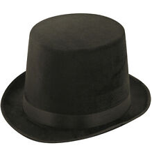 BLACK LINCOLN TOP HAT TOPPER MAGICIANS VICTORIAN RINGMASTER BURLESQUE H09 580