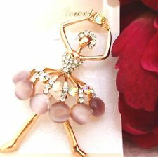 Ladies Girls Crystals Balerina Crystal Rhinestone Brooch new