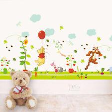 Winnie Pooh Tiger Piglet Grass Cloud Wall Boader Decals Sticker kids baby Decor