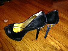 Womans NINE WEST super sexy Platform Black Velvet High Heels MUST SEE sz 10