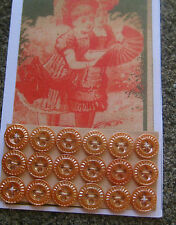 """Set of 18 Vintage 3/8"""" 4 hole Amber Carnival Glass Pie Crust Buttons~old stock"""