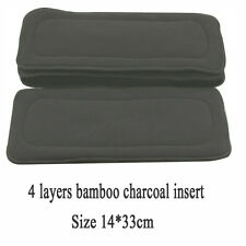 4 Layers 1pc Washable Reusable Bamboo Fiber Charcoal Cloth Nappies Diaper Insert