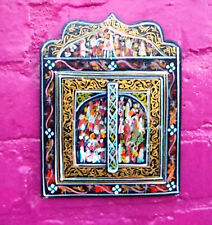 Beautifully Hand Painted Mirror With Doors from Morocco * BLACK *