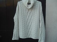Inis Crafts 100% Merino wool cable knit Cowal Neck Jumper S Made in Ireland