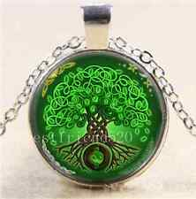 Green Celtic Tree Of Life Cabochon Glass Tibet Silver Chain Pendant Necklace#133