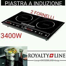 PIASTRA INDUZIONE 3400W DOPPIO 2 ZONE PIANO COTTURA FORNELLO ELETTRICO 270°.