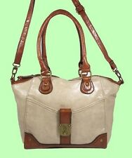 STYLE & CO Twist lock Sand Color block Leather Satchel/X-Body Bag *REDUCED 70%