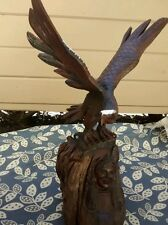 Very nice carved wood eagle native American heads figurine arts sculpture