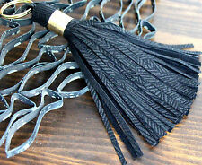 "HANDMADE MURKA TEXTURED BLACK GENUINE LEATHER TASSEL 6"" KEY BAG CHARM FOB RING"