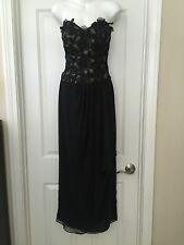 Fred Hayman Beverly Hills Black Long Lace Strapless Gown Dress Sz 8 #68HH