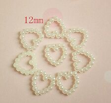 20P Beige Heart Pearl Phone Hair Nail accessory Bling DIY Decoration Beads