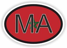 MOROCCO MA AFRICAN COUNTRY CODE OVAL FLAG STICKER bumper decal car bike tablet