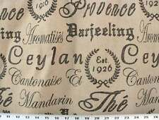 Drapery Upholstery Fabric Burlap Linen Texture with French Script - Black