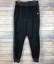 Puma Cuffed Joggers Casual Pants Sz Large Black Cotton Gray Side Stripe NWOT