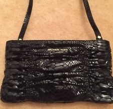 Michael Kors Webster Black Patent Python Leather Clutch Bag