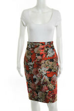 Givenchy Orange Metallic Floral Print Pencil Skirt Size IT 36 New 111796