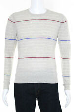 Shipley & Halmos Ivory Cashmere Striped Round Neck Long Sleeve Sweater Size Smal