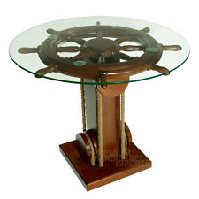 """28"""" Ship Wheel Coffee Table with Glass Top NF0002W"""