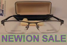 NEW GUCCI G517 52-17-135 BLAKE EYE GLASS FRAME HALF RIM METAL WITH CLEANING CLOT