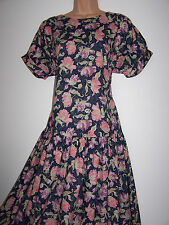 Laura Ashley vintage navy bloomed tulip back ties dropped waist tea dress 14 UK