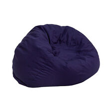 Small Kids Comfy Bean Bag Chair in Solid Navy Blue Cotton Fabric