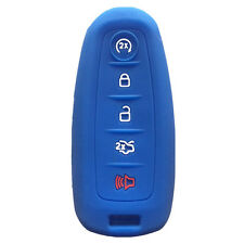 Blue Silicone Key Fob Case Cover Smart Key Case Shell fit for Lincoln Ford 5B