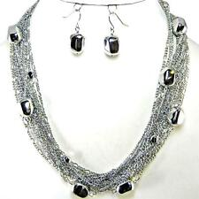 Sparkle Chains Silver Nugget Necklace Earrings Jewelry Set Multi Layered