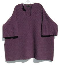 Eskandar PURPLE HAZE Cashmere Texture Knit V-Neck Long Tunic Sweater O/S $2490