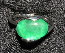 RING R77 Assorted Sizes Men's/Ladies Green JADE CABOCHON