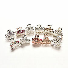 Girls Sweet Crystal Rhinestone Flower Mini Hair Claws Clips Pin Clamps Random