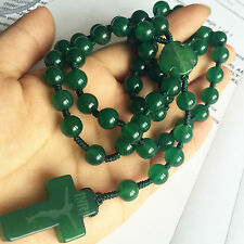 Natural Green jade Bead CROSS ROSARY BEADS CRUCIFIX CATHOLIC NECKLACE BOX