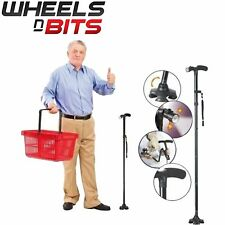 NEW Folding Walking Stick AID Cane Support 85-97cm With LED Light 4 point foot