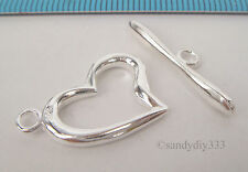 1x BRIGHT STERLING SILVER SWEET HEART CLASSIC TOGGLE CLASP 18mm #602