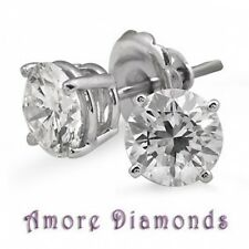 2.35 ct GIA D VVS2 round triple excellent diamond stud earrings platinum push bk