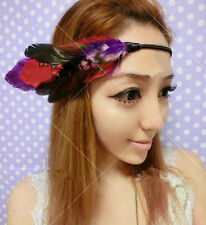Women Lady BOHO Hippie Bohemian colorful Feather Hair band headband fascinator