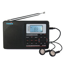 Top Quality TIVDIO Mini FM / MW / SW Receiver W/Alarm Clock Sleep timer New MD