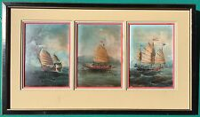 Antique China Trade Oil Paintings 3 Boats Ships Sailing on Board Small
