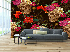 Sugar Skull Floral Black Pink Red Wall Mural Photo Wallpaper GIANT WALL DECOR