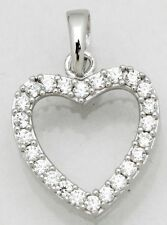 Genuine Diamond Heart Pendant Necklace ~ Solid Sterling Silver~ Gift box