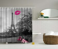 "EIFFEL TOWER PINK LIPS KISS PARIS 70"" Fabric Bathroom Shower Curtain"
