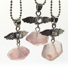 Guardian Angel Inspired Rose Quartz Nugget Gemstone Crystal Pendant