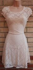 NEW LOOK LIGHT PINK FLORAL LACE SKATER FLIPPY A LINE FLARE CURVY TEA DRESS 10 S